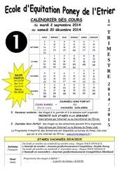 calendrier cours pc 1er trimestre 1415