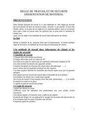 tp n 1 regle de travail et de securite presentation de materiel