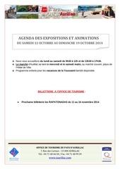 agenda du samedi 11 octobre au dimanche 19 octobre 2014