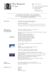 Fichier PDF cv diaz benjamin technicien atelier methodes