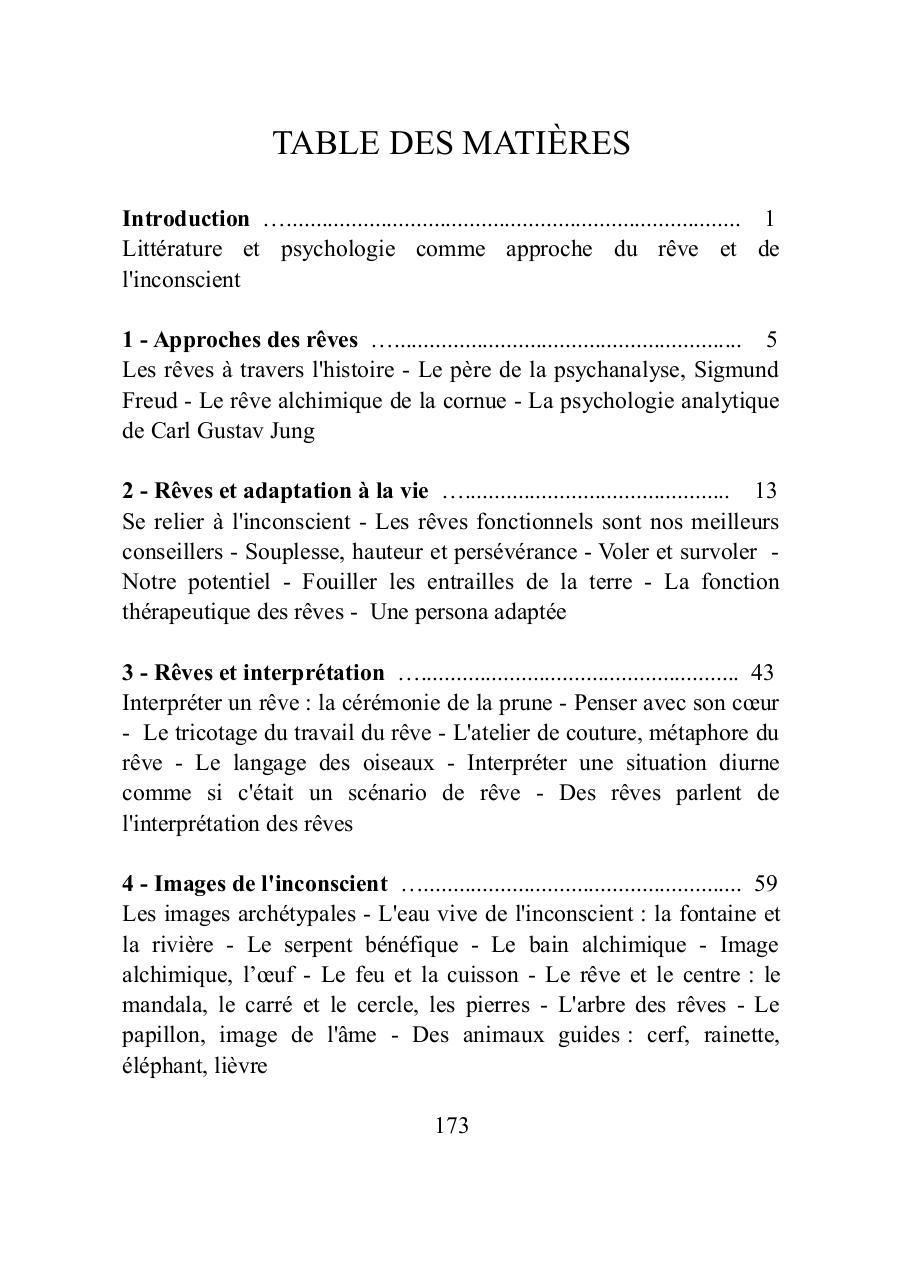 LA LUMIERE DES REVES, table des matières - Fichier PDF