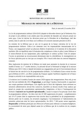 restructurations 2015 message du ministre de la defense