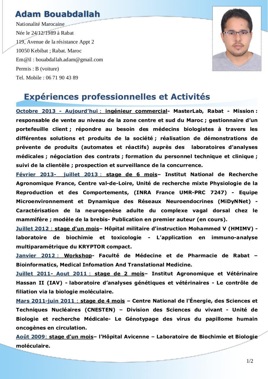 nom pr u00e9nom par free cv - cv adam bouabdallah pdf