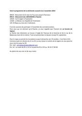 voici le programme de la ceremonie souvenir du 2 novembre 2014