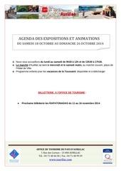 agenda du samedi 18 octobre au dimanche 26 octobre 2014