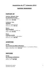 aquisitions bd 3eme trimestre 2014