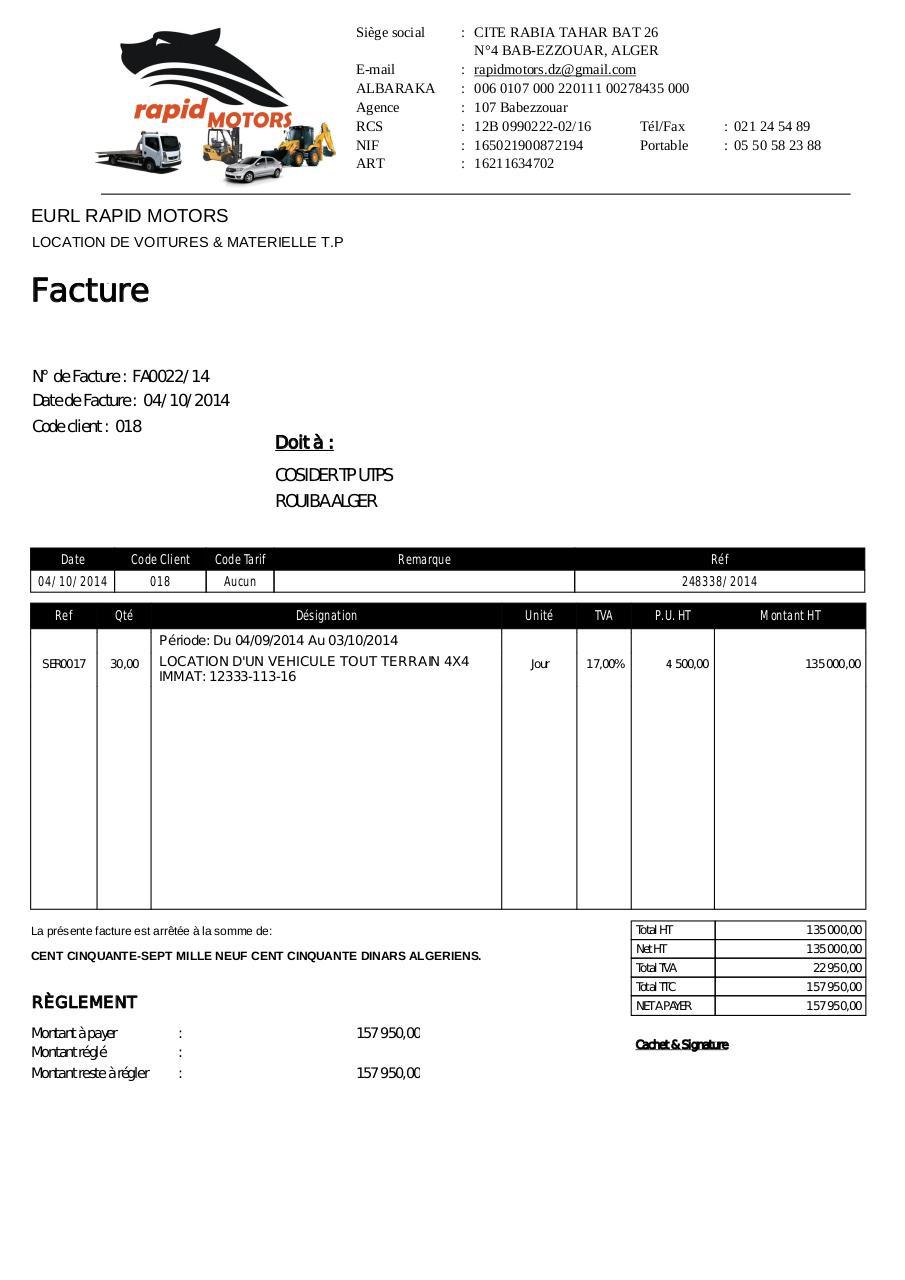 facture cosider tp facture cosider fichier pdf. Black Bedroom Furniture Sets. Home Design Ideas