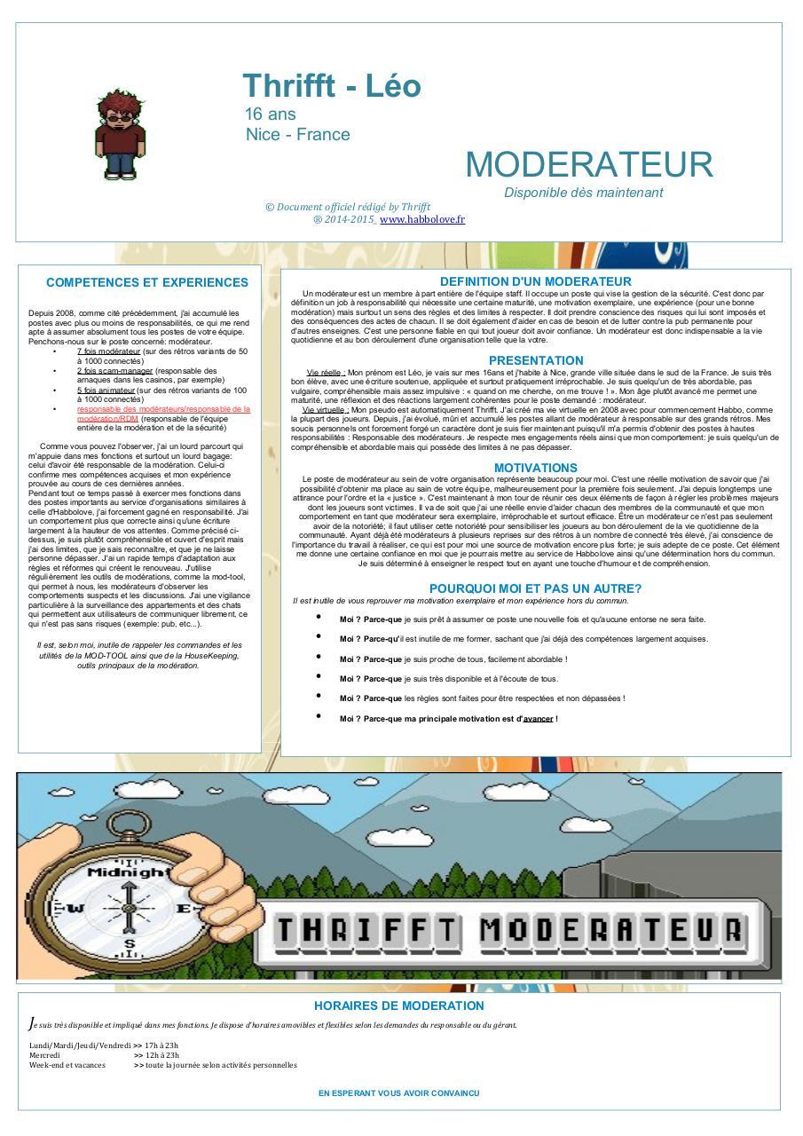 cv poste moderateur pdf par charles