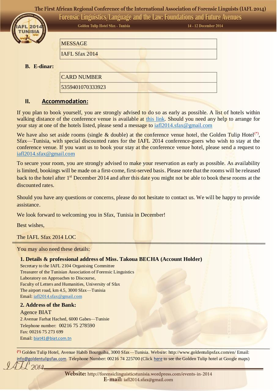 IAFL Sfax 2014 Registration and Accommodation.pdf - page 2/2