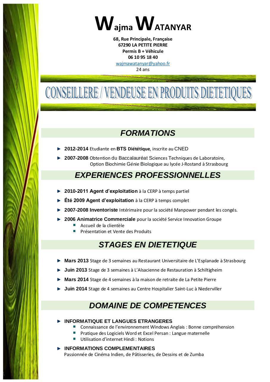 wajma watanyar cv vendeuse en produits dietetiques pdf par
