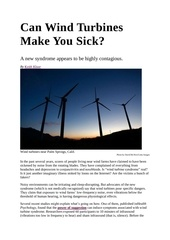 can wind turbines make you sick