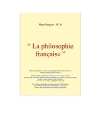 bergson la philosophie franc aise