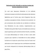 declaration fr de monsieur ali benflis sur les elections en tunisie ali benflis sur les elections en tunisie