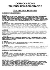 convocations tournoi usm grade 2 du 1 2 novembre 2014