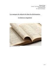 lexicologie subjectivite dictionnaires incomplet