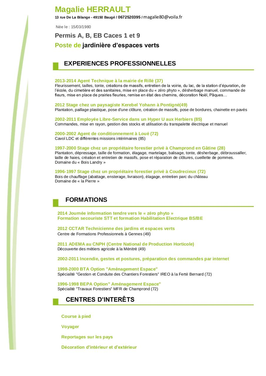Exemple cv ouvrier horticole for Emploi paysage