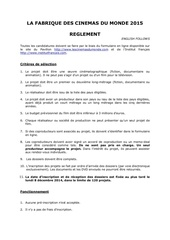 reglement regulations la fabrique 2015