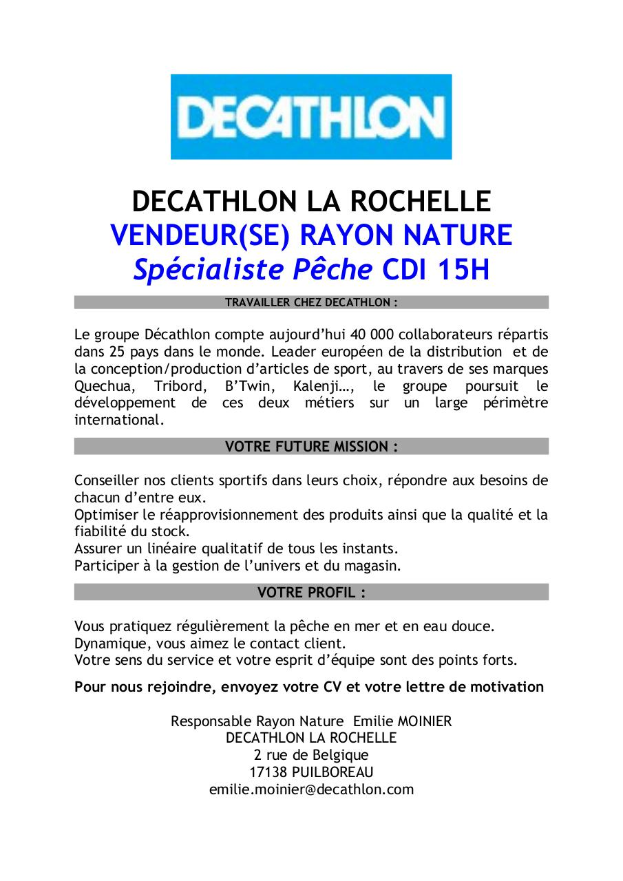 Doc Lettre De Motivation Decathlon Responsable Rayon