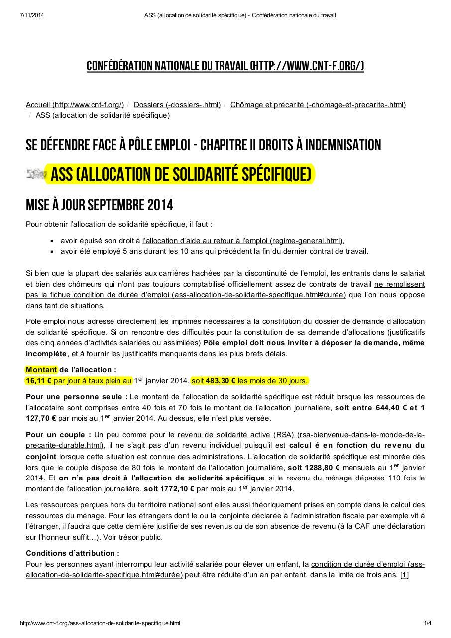 Ass Allocationsolidaritespecifique Fichier Pdf