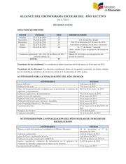 alcance del cronograma escolar costa 2014 2015 22 10 14