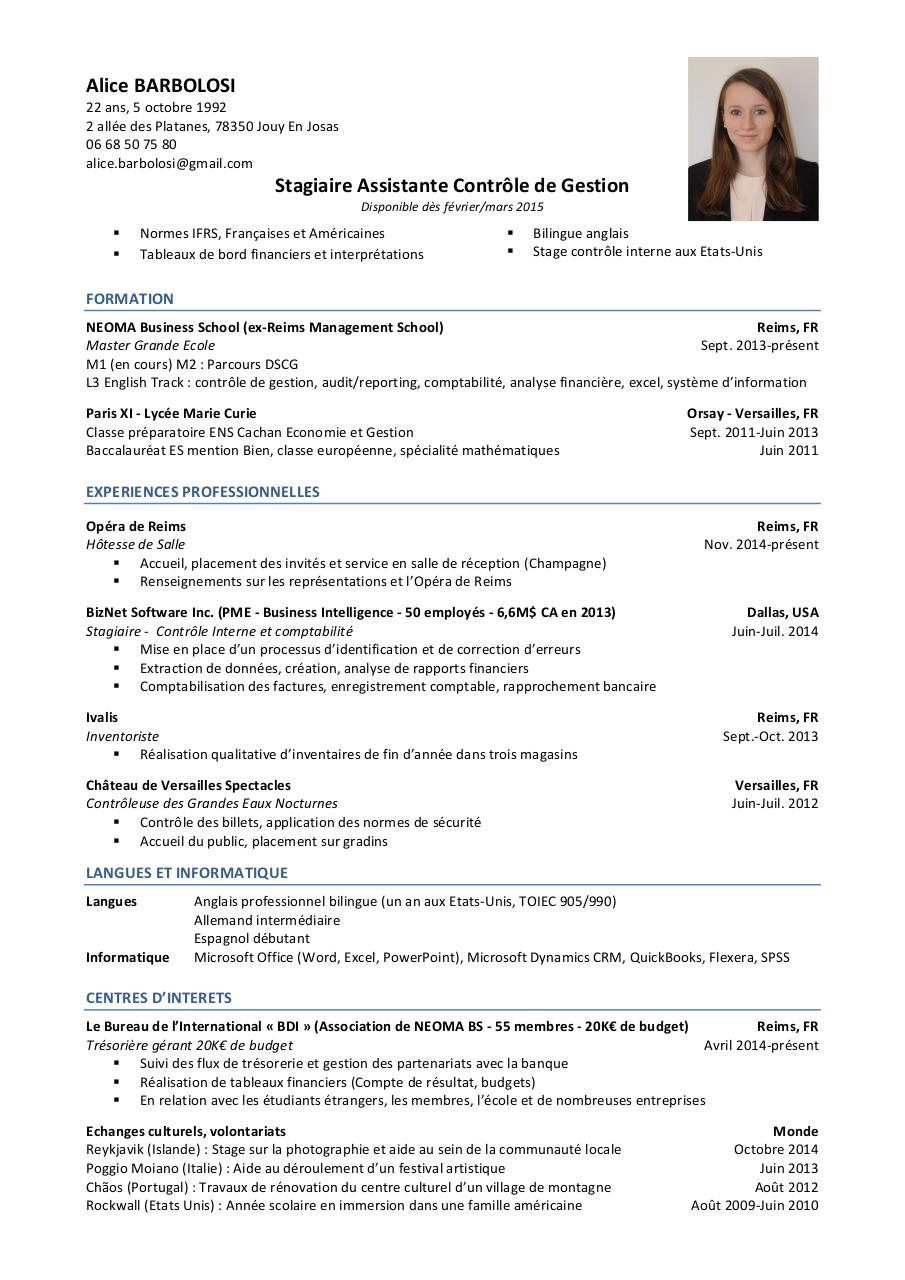 exemple cv alternance dscg