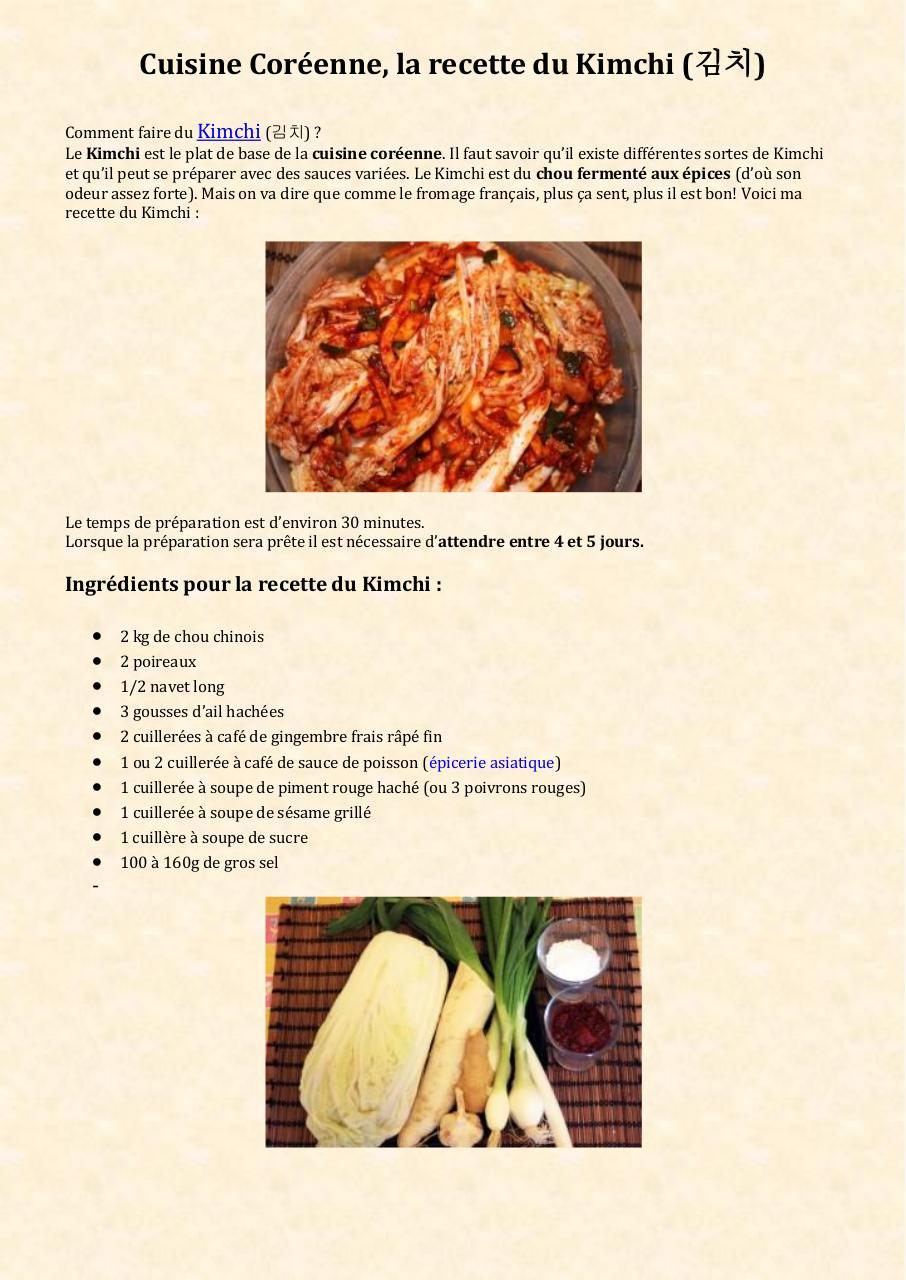 Cuisine Coreenne La Recette Du Kimchi Fichier Pdf