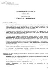 resume metier de conservateur 15 oct 2014