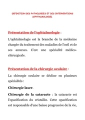 3 oph definition des pathologies et interventions