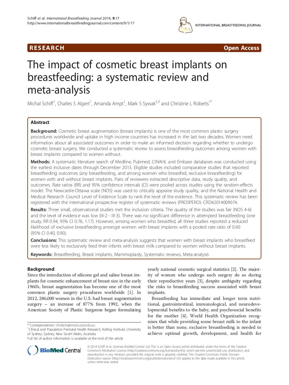 The impact of cosmetic breast implants on breastfeeding: a