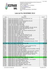 liste de prix novembre 2014