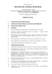 20 nov 2014 ordre du jour conseil municipal
