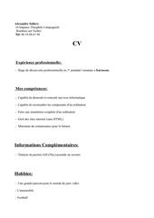 Fichier PDF cv stage