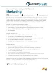 marketing parkplatz gesucht jobs