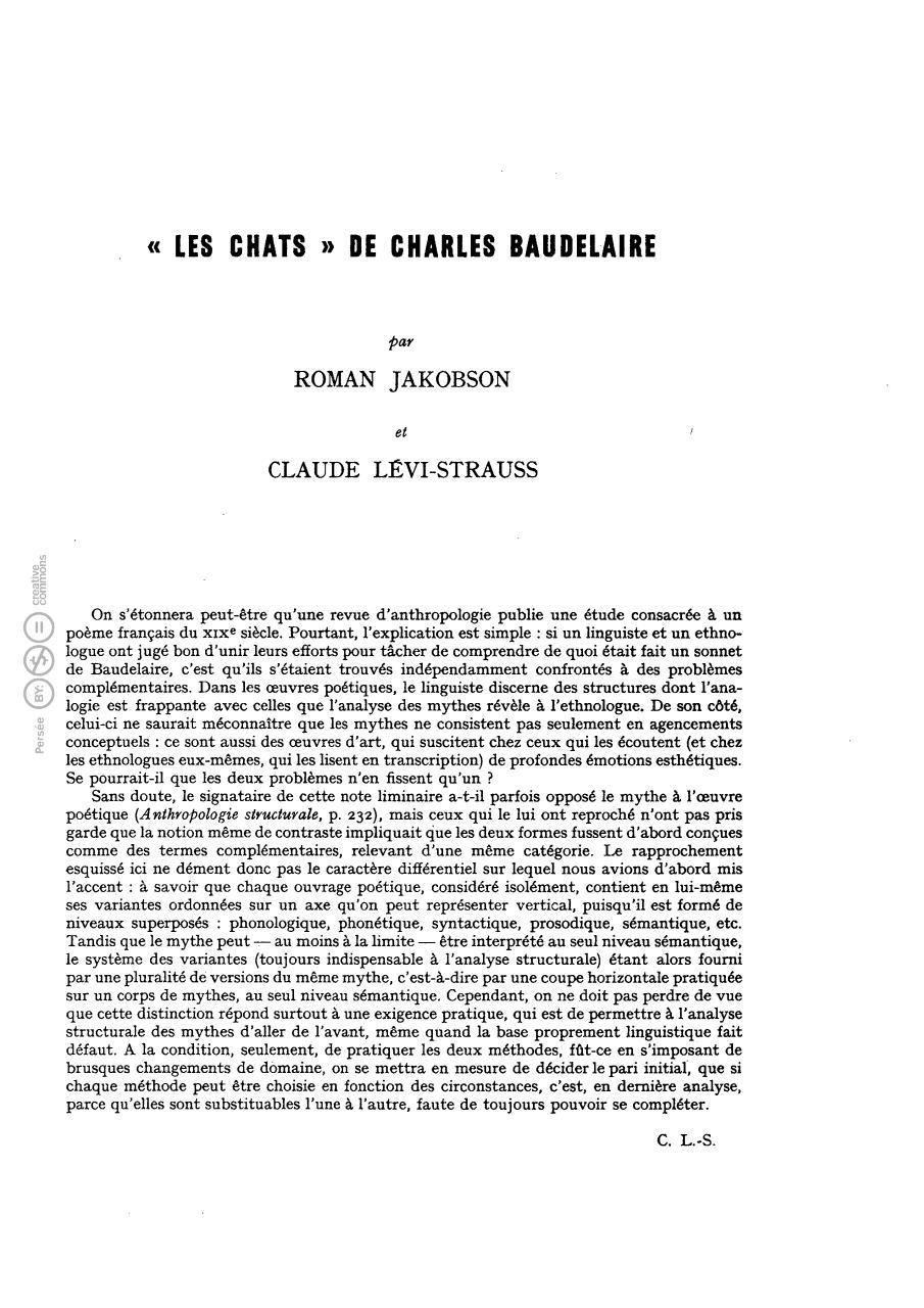 Les Chats De Charles Baudelaire Par Roman Jakobson Claude Levi