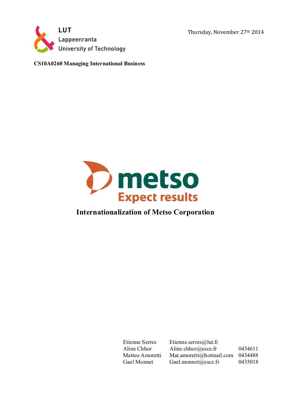 Aperçu du document Group12. Metso Corporation.pdf - page 1/26