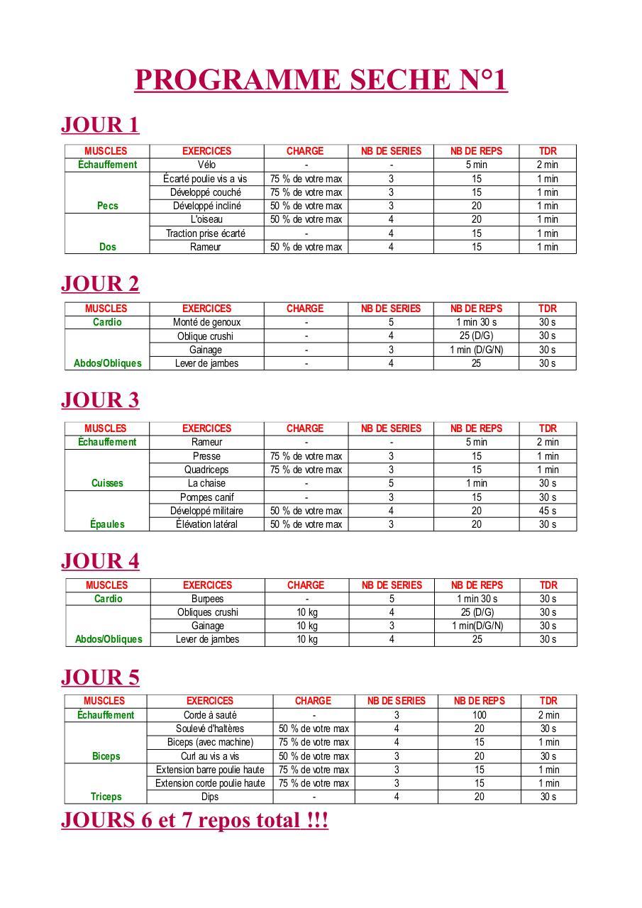 Programme seche n 1 1 pdf par donovan wegerak fichier pdf - Programme prise de force developpe couche ...