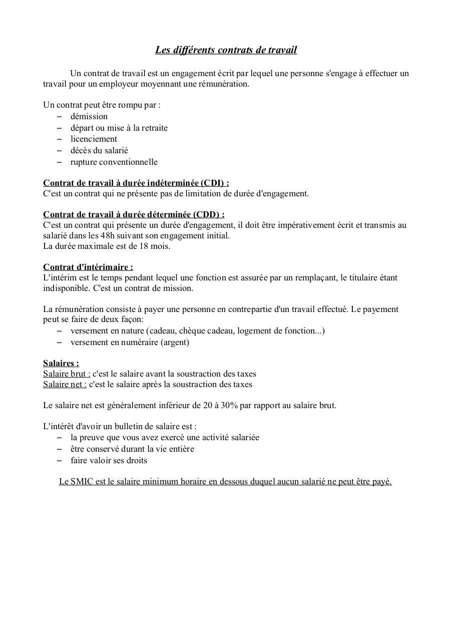 faire un contrat de travail cdi les différents contrats de travail   Fichier PDF faire un contrat de travail cdi
