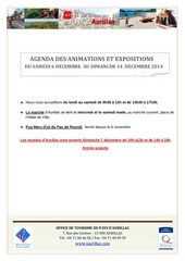 agenda du samedi 6 decembre au dimanche 14 decembre 2014