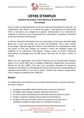 assistant de projets internationaux mi temps