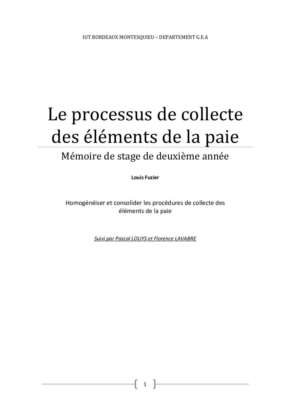 Le Processus De Collecte Des éléments De La Paie Par Louis