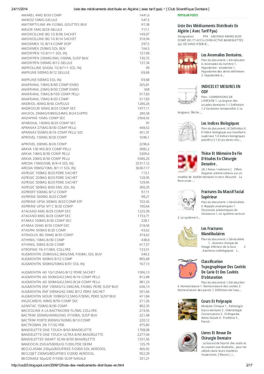 Liste Des Médicaments Distribués En Algérie Avec Tarif Ppa