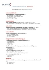 calendrier des formations 2014