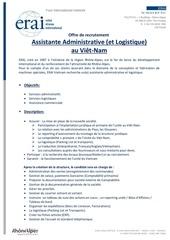 charge admin offre de recrutement erai vietnam 09 12 2014