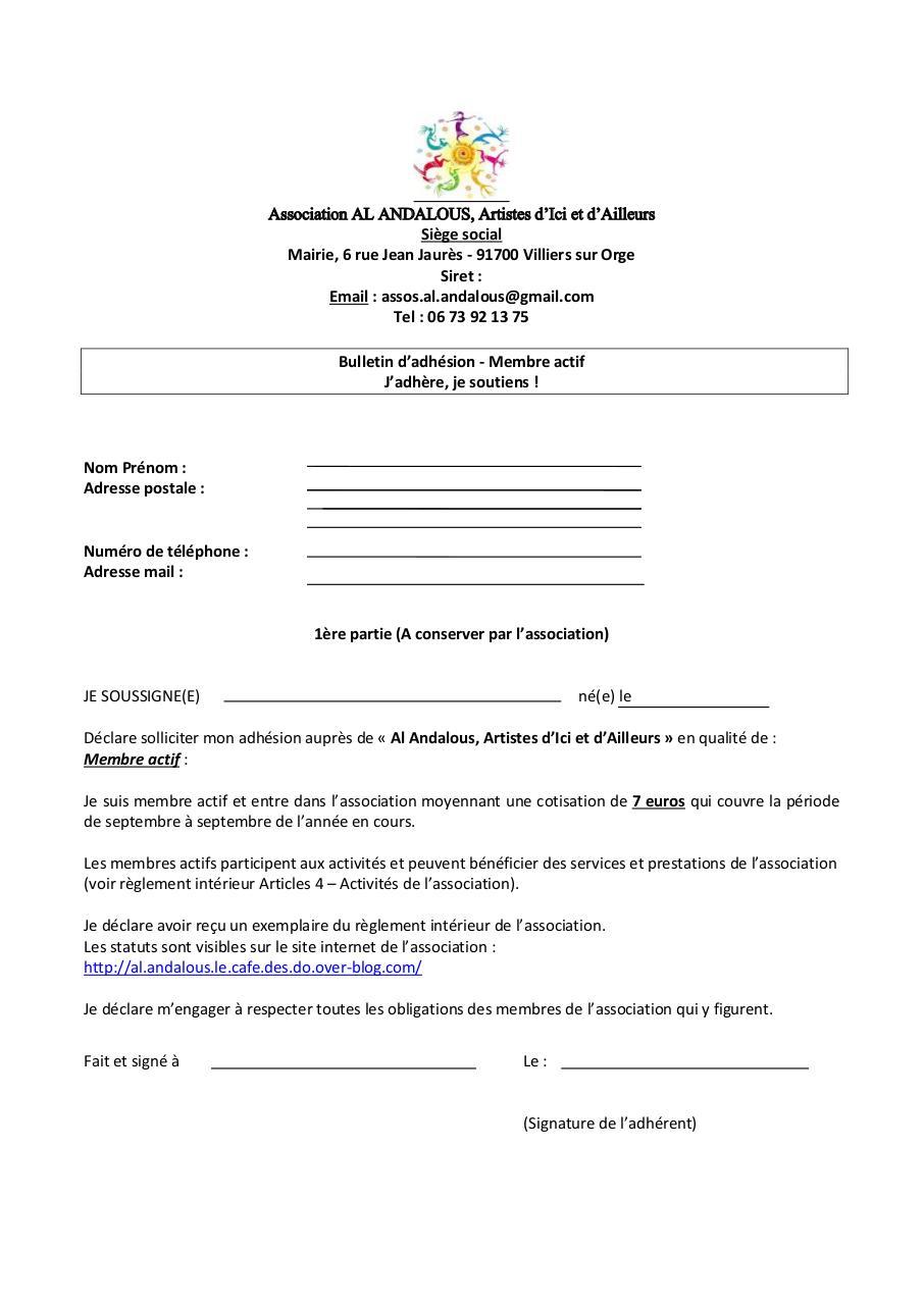 Modele De Bulletin D Adhesion D Une Association Bulletin Adhesion