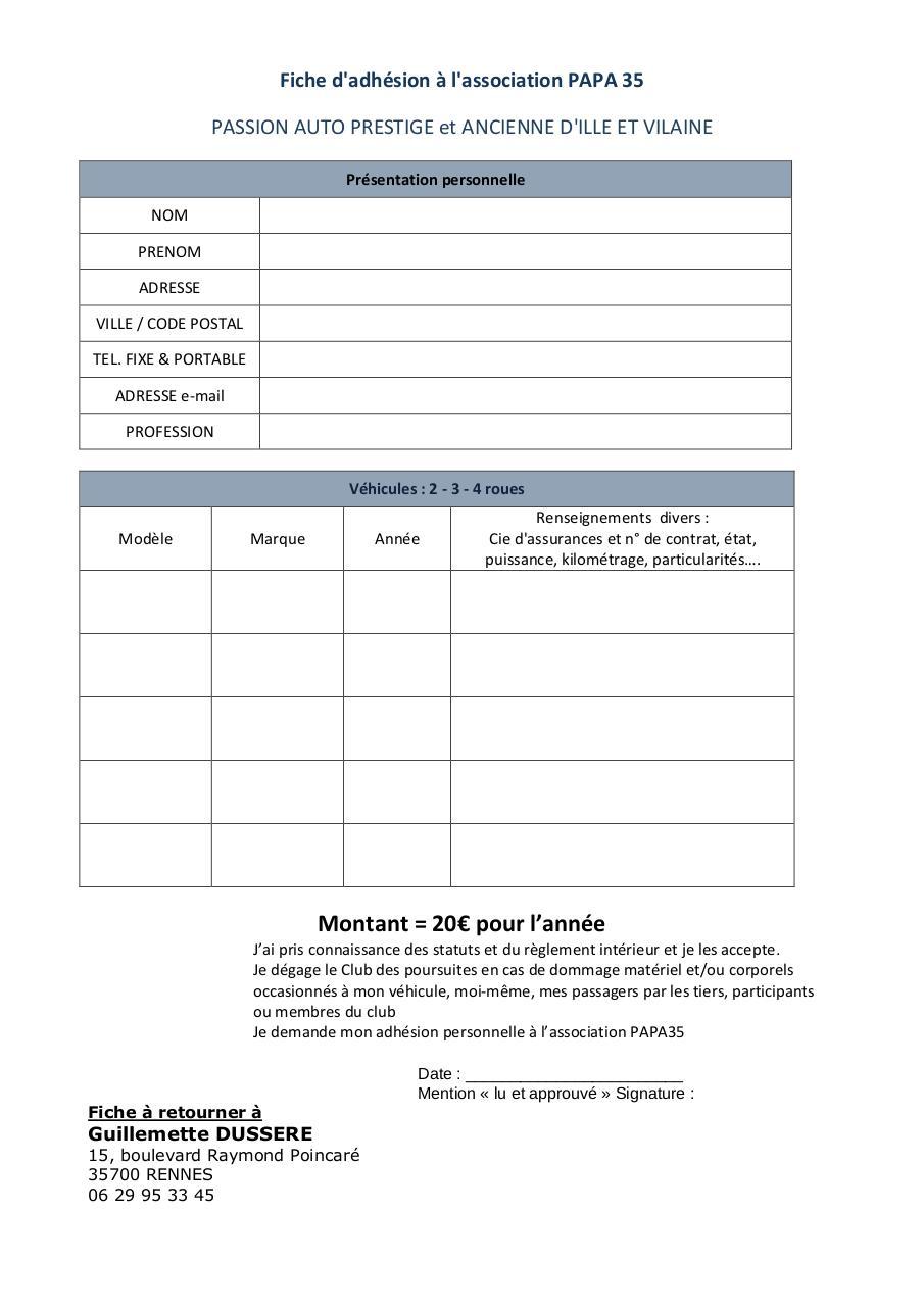 Bulletin d 39 adh sion papa35 par guillemette bulletin d for Reglement interieur association pdf