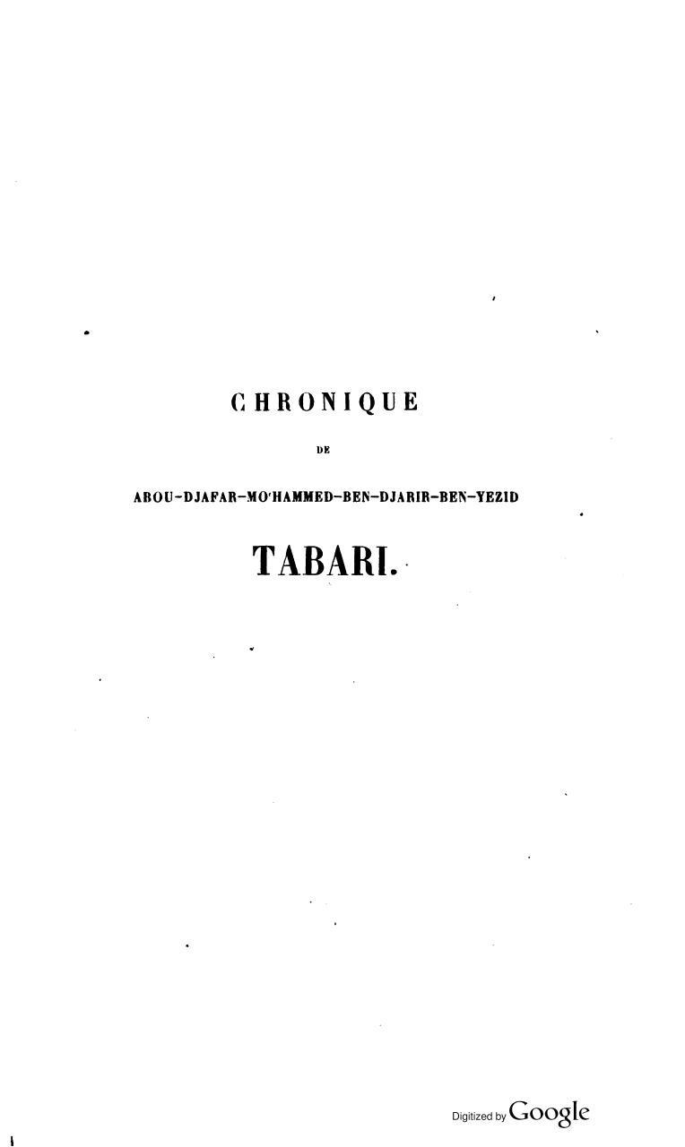 chronique de tabari pdf