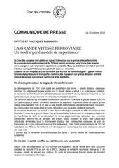 cour des comptes lgv communique de presse