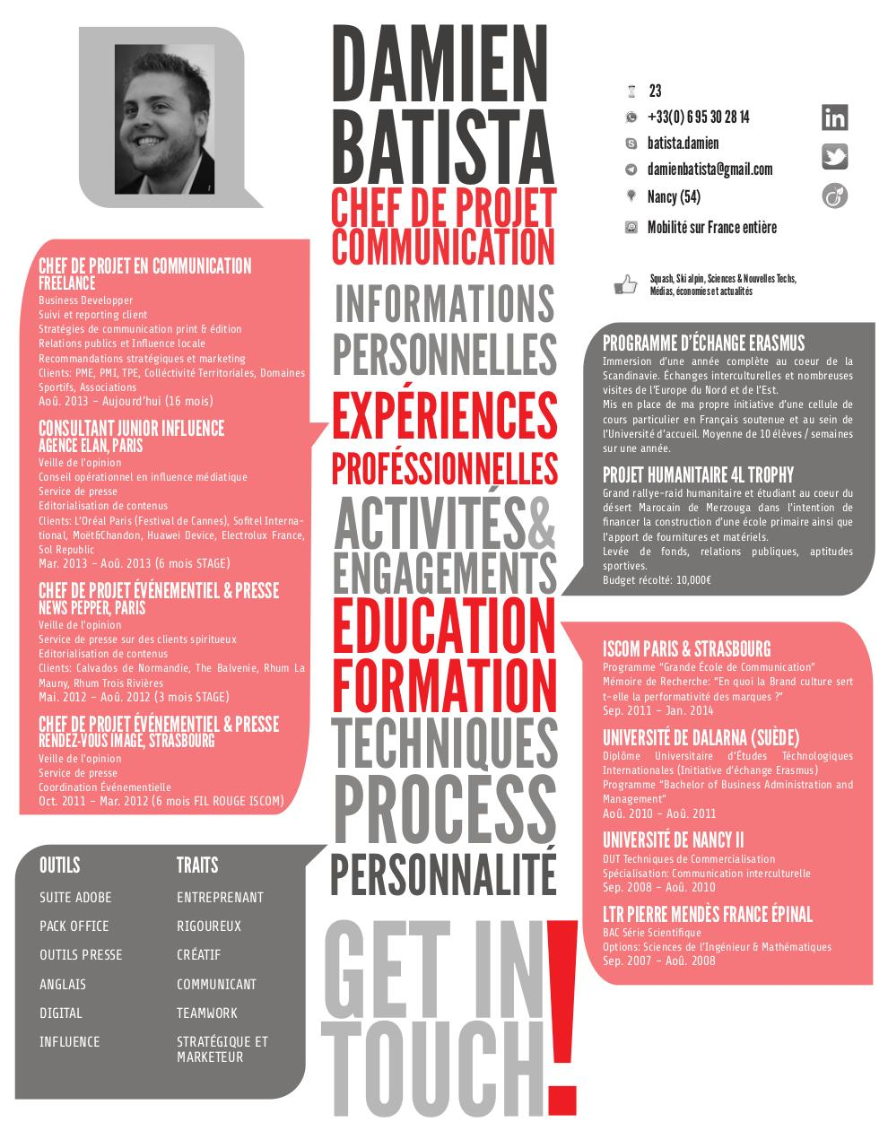 damien batista cv charg u00e9 de communication  u0026 business