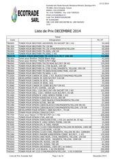 liste de prix decembre 2014
