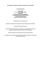 Fichier PDF bruschetta tomate jambon de parme et mozzarella
